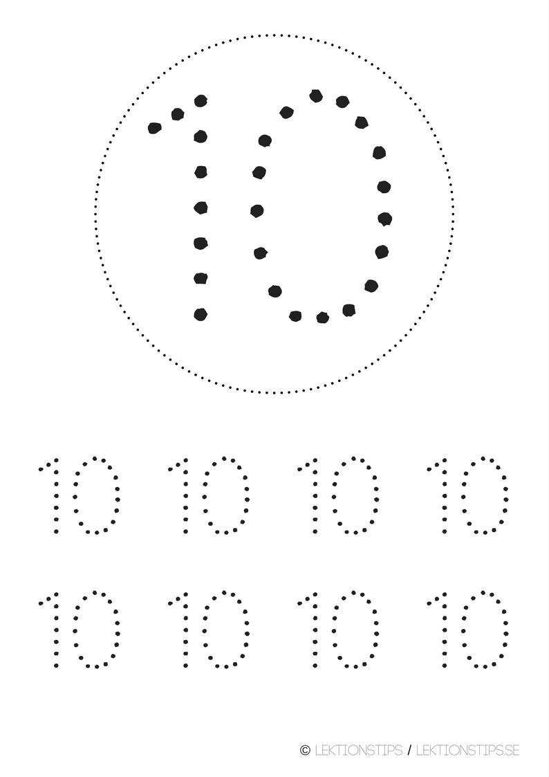 lektioner, lektionsmaterial, gratis lektioner, skolmaterial, knep och knåp, pyssel, stenciler, matte, matematik, mattestenciler, lära sig räkna, siffror, nummer, 10
