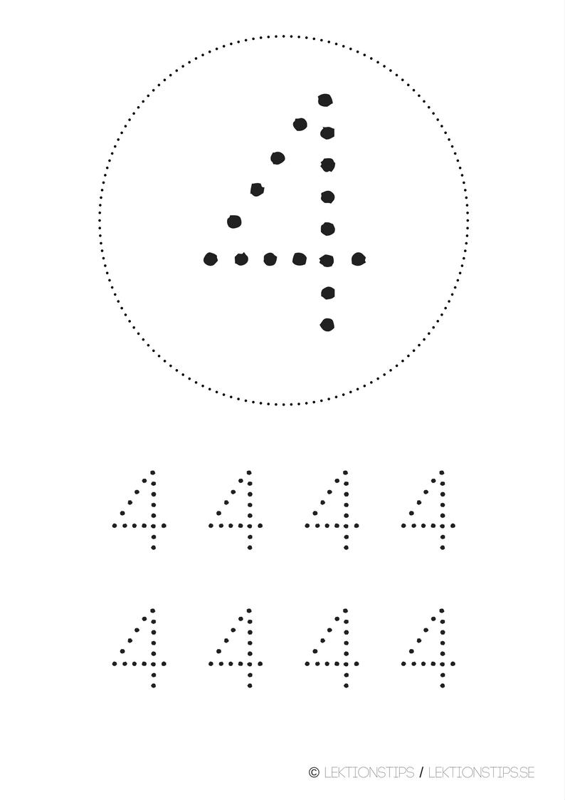 lektioner, lektionsmaterial, gratis lektioner, skolmaterial, knep och knåp, pyssel, stenciler, matte, matematik, mattestenciler, lära sig räkna, siffror, nummer, 4