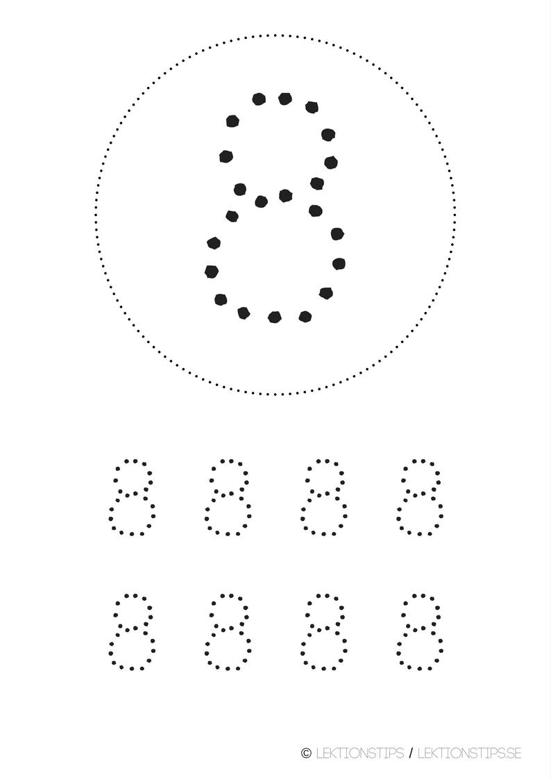 lektioner, lektionsmaterial, gratis lektioner, skolmaterial, knep och knåp, pyssel, stenciler, matte, matematik, mattestenciler, lära sig räkna, siffror, nummer, 8