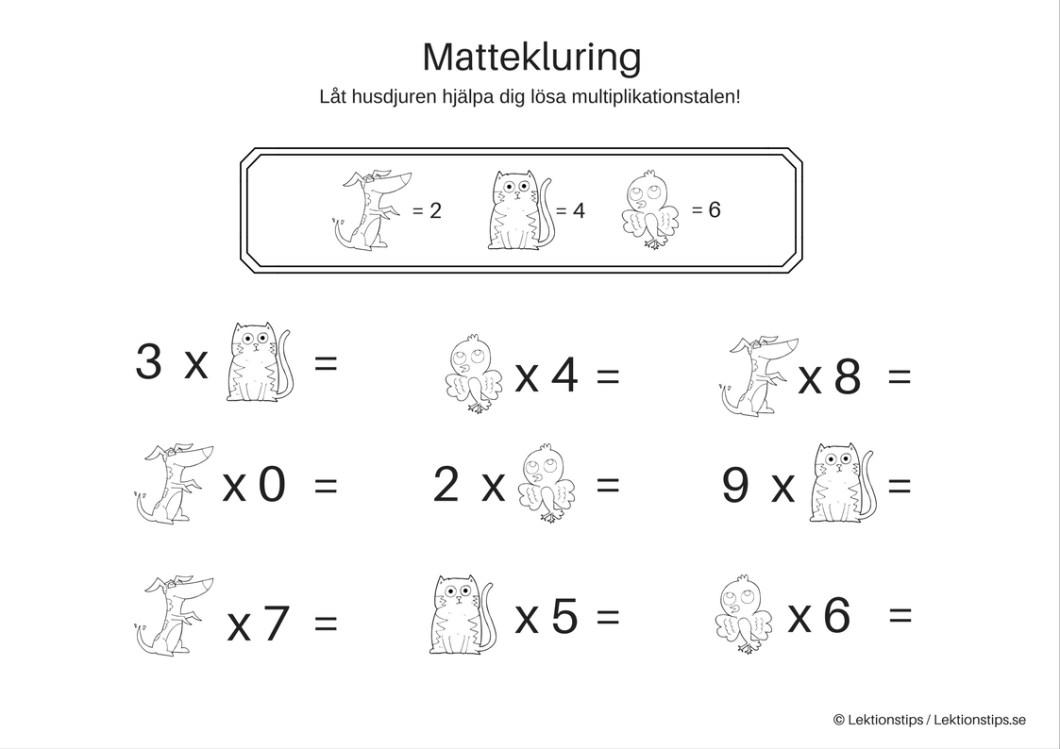 lektioner, lektionsmaterial, gratis lektioner, skolmaterial, knep och knåp, pyssel, stenciler, matte, matematik, mattestenciler, algebra, problemlösning, mattepyssel, mattekluring, multiplikation