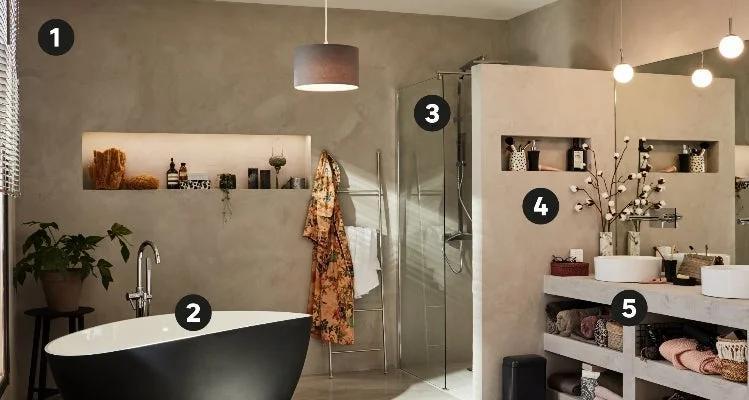 le beton cire dans la salle de bains