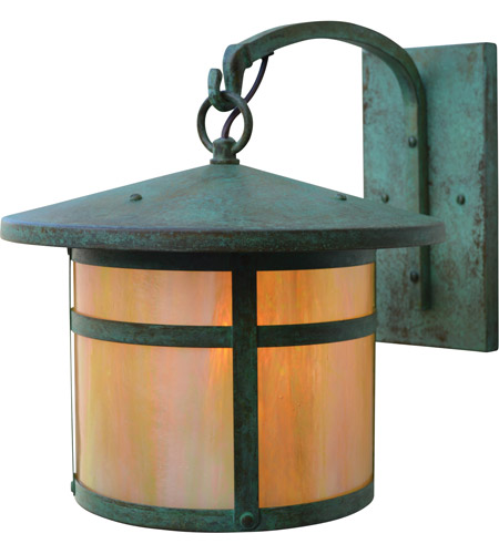 arroyo craftsman bb 11gw vp berkeley 1 light 12 inch verdigris patina outdoor wall mount in gold white iridescent