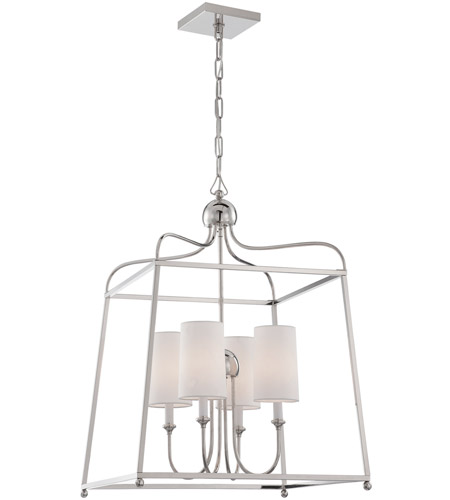 Crystorama 2244 Pn Sylvan 4 Light 22 Inch Polished Nickel Chandelier Ceiling In White Linen