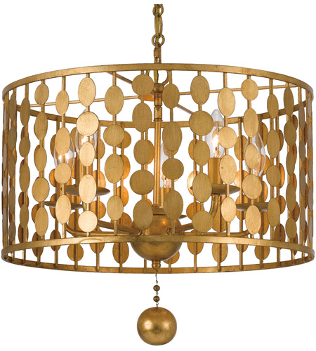 Crystorama 545 Ga Layla 5 Light 18 Inch Antique Gold Chandelier Ceiling In