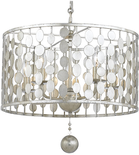 Crystorama 545 Sa Layla 5 Light 18 Inch Antique Silver Chandelier Ceiling In