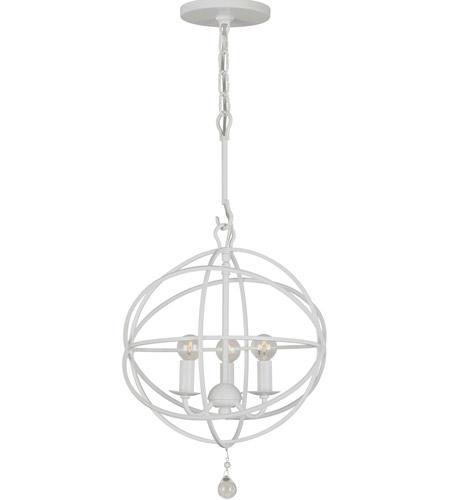 Crystorama 9225 Ww Solaris 3 Light 13 Inch Wet White Mini Chandelier Ceiling In