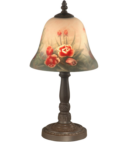 dale tiffany 10056 604 evelyn 15 inch 60 00 watt antique bronze table lamp portable light in hand painted art glass antique bronze plating