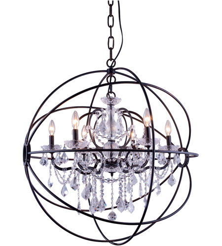 geneva 6 light 32 inch dark bronze pendant ceiling light in clear urban classic
