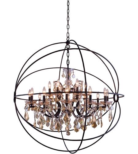 elegant lighting 1130g43db gt rc geneva 18 light 44 inch dark bronze pendant ceiling light in golden teak urban classic