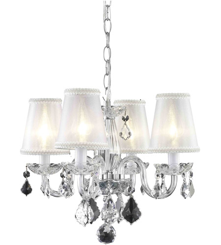 Elegant Lighting 7804d15c Rc Sh Rococo 4 Light 15 Inch Chrome Dining Chandelier Ceiling In Clear Silver Shade
