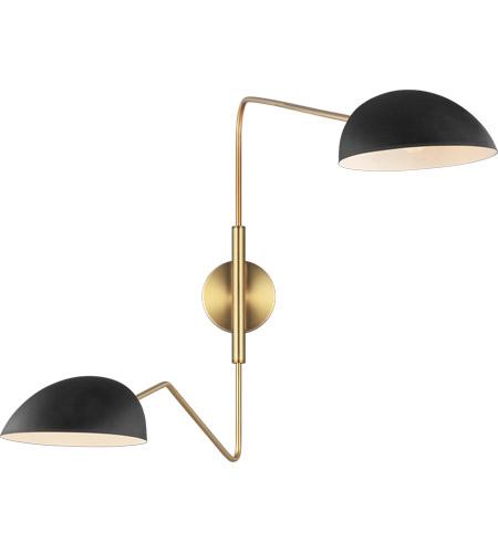 generation lighting ew1072mbk ed ellen degeneres jane 42 inch 60 watt midnight black burnished brass swing arm sconce wall light