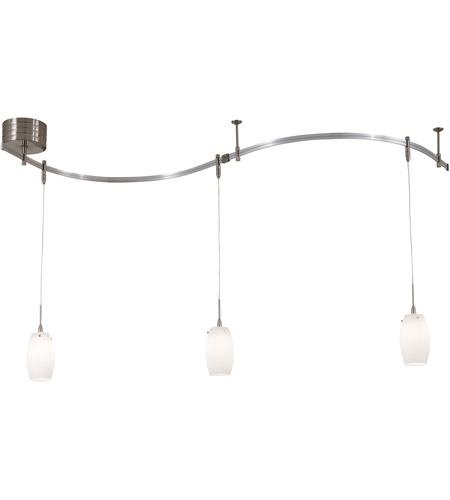gk lightrail 3 light brushed nickel mini pendant rail kit ceiling light in etched opal low voltage