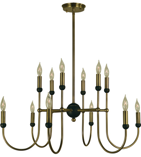 Framburg 4798ab Mblack Nicole 12 Light 30 Inch Antique Brass With Matte Black Chandelier Ceiling In