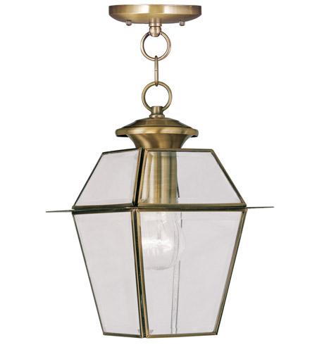 livex lighting westover 1 light outdoor hanging lantern in antique brass 2183 01