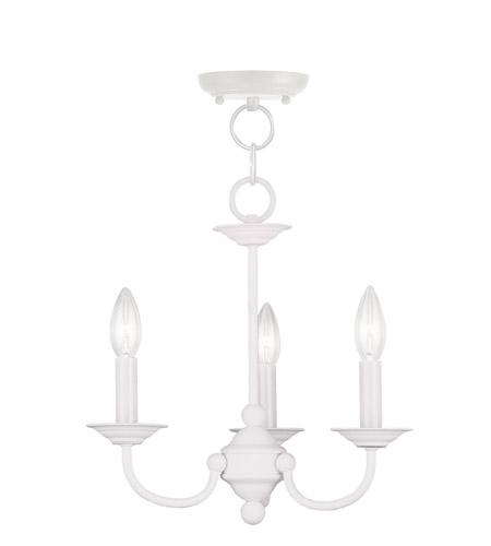 Livex 4153 03 Home Basics 3 Light 14 Inch White Mini Chandelier Ceiling Photo
