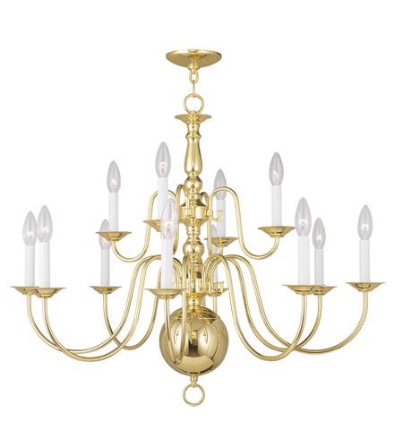 Livex 5014 02 Williamsburgh 12 Light 32 Inch Polished Brass Chandelier Ceiling