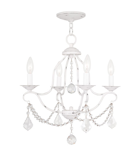 Livex 6424 60 Chesterfield 4 Light 18 Inch Antique White Mini Chandelier Ceiling Photo