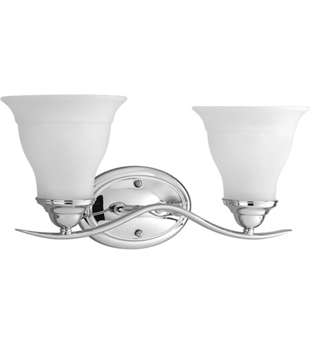 progress p3191 15 trinity 2 light 17 inch polished chrome bath vanity wall light in bulbs not included standard
