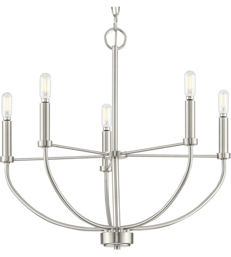progress p400202 009 leyden 5 light 22 inch brushed nickel chandelier ceiling light