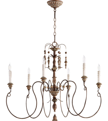 Quorum 6006 6 39 Nto Light 32 Inch Vintage Copper Chandelier Ceiling