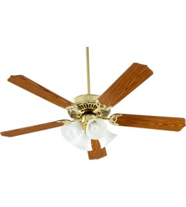 Quorum 77525 8102 Capri V 52 inch Polished Brass with Medium Oak     Quorum 77525 8102 Capri V 52 inch Polished Brass with Medium Oak Blades Ceiling  Fan in Light Kit Not Included