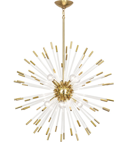 Robert Abbey 166 Andromeda 8 Light 28 Inch Modern Brass With Clear Acrylic Rods Chandelier Ceiling