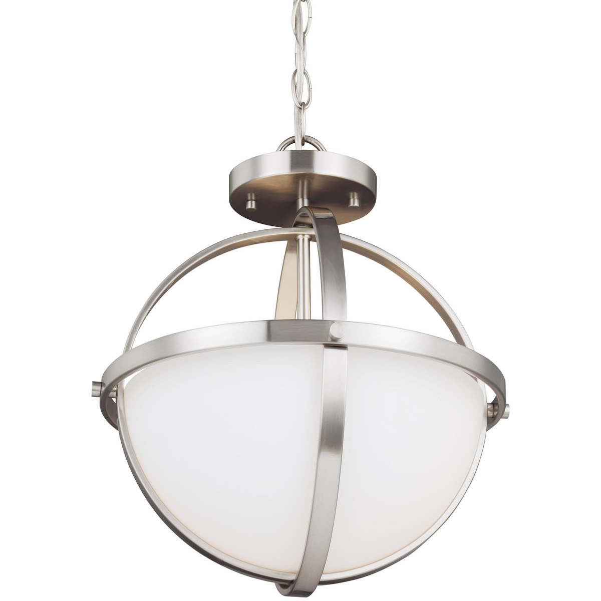 alturas 2 light 14 inch brushed nickel semi flush convertible pendant ceiling light