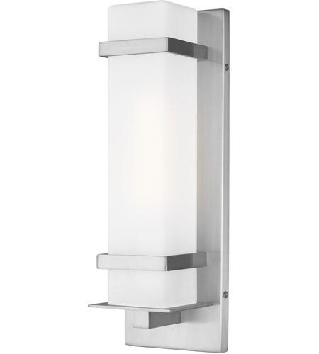sea gull 8520701en3 04 alban 1 light 14 inch satin aluminum outdoor wall lantern