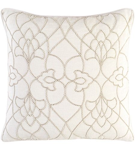 dotted pirouette 22 x 22 inch cream and taupe throw pillow