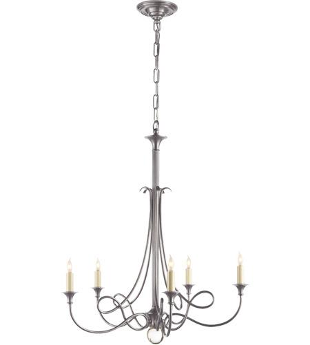 Visual Comfort Sc5015as Eric Cohler Twist 5 Light 26 Inch Antique Silver Chandelier Ceiling Photo