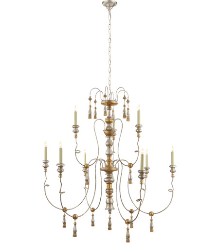 Visual Comfort Sk5003fg Suzanne Kasler Michele 9 Light 46 Inch French Gild Silver And Gold Chandelier