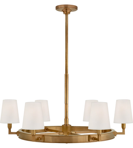 Visual Comfort Tob5281hab L Thomas Obrien Watson 6 Light 36 Inch Hand Rubbed Antique Brass Chandelier Ceiling Medium Ring