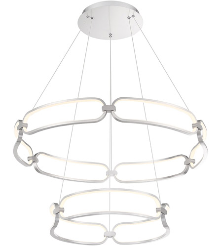 wac lighting pd 54934 bn charmed led 32 inch brushed nickel chandelier ceiling light in 36in dweled
