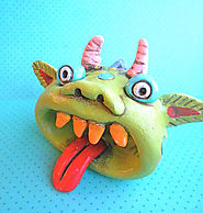 Rainbow Monster with an Open Mouth Original Folk Art sculpture