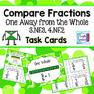 Compare Fractions One Away from the Whole Task Cards by Mercedes Hutchens