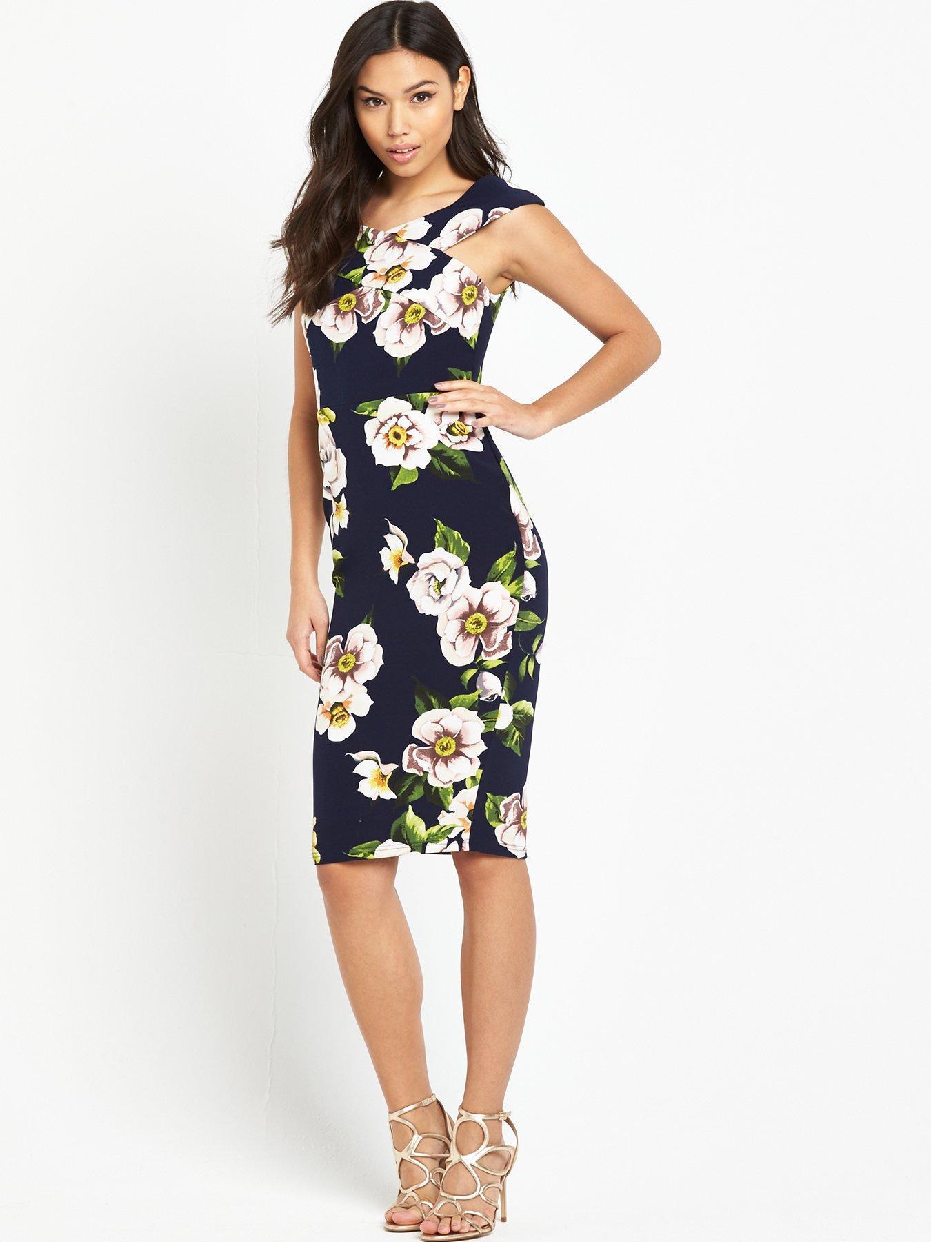 Ax Paris Curve Summer Floral Midi Dress