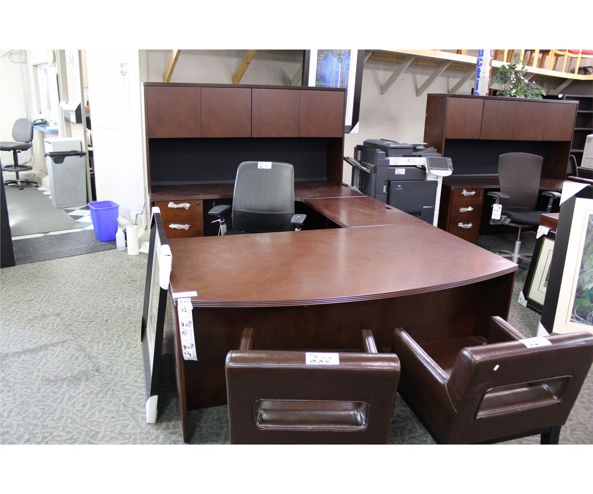 CHERRY BOW FRONT U SHAPE EXECUTIVE DESK CW HUTCH Able