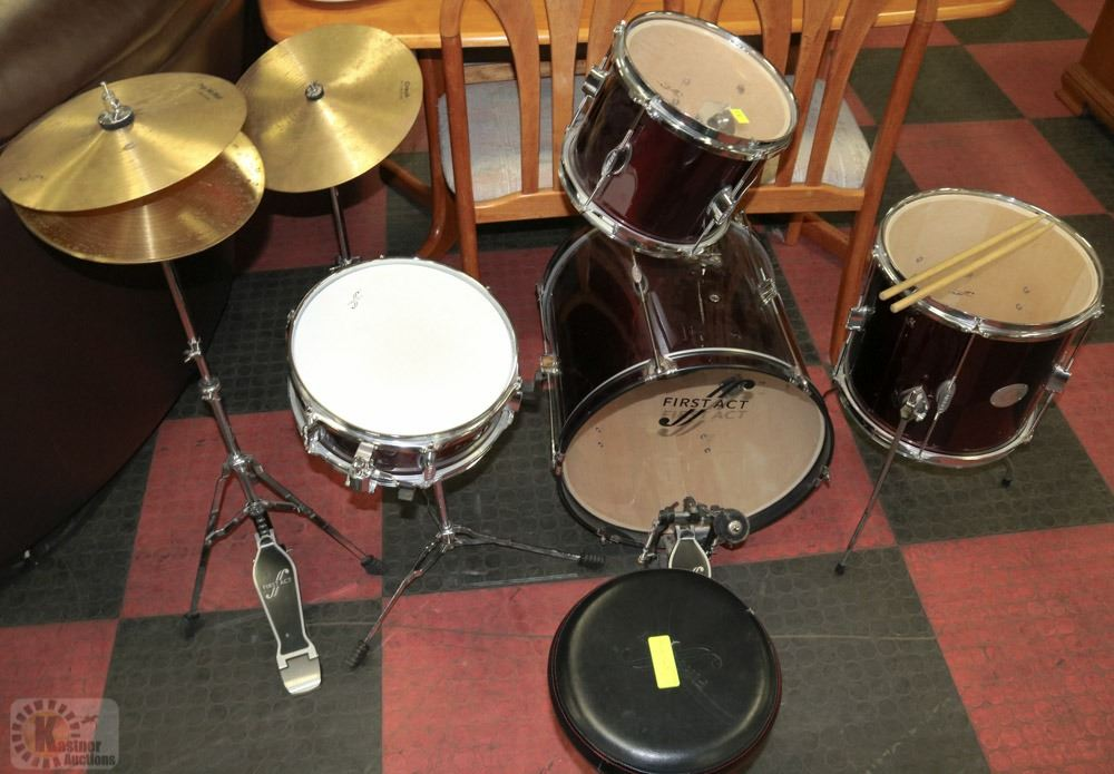 FIRST ACT DRUM SET MODEL MD700 WITH STOOL   STICKS Image 1   FIRST ACT DRUM SET MODEL MD700 WITH STOOL   STICKS