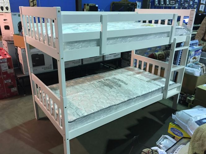 Image 1 White Wooden Bunk Bed Set Complete With Mattresses