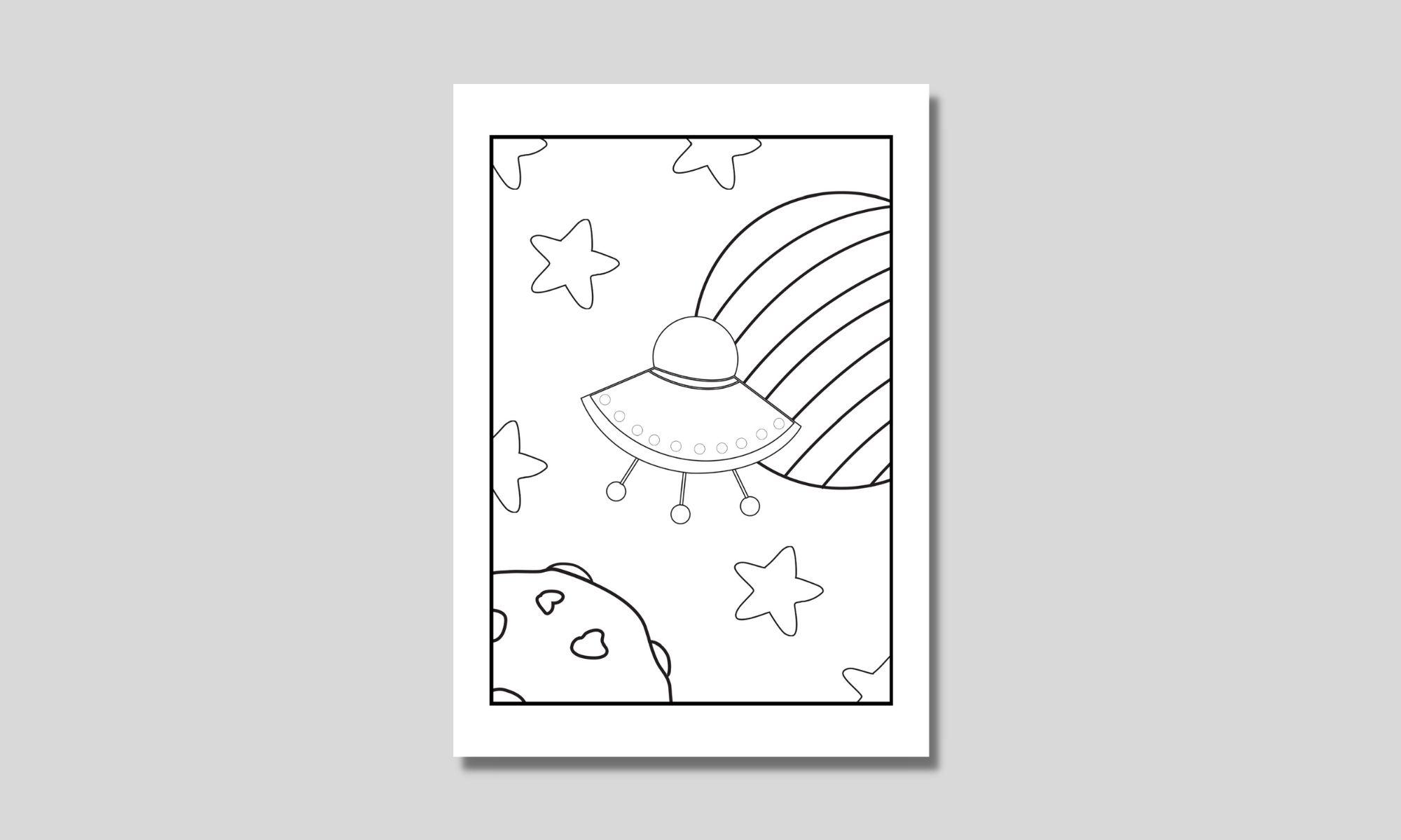 enkel barnmålarbild med ett ufo i rymden