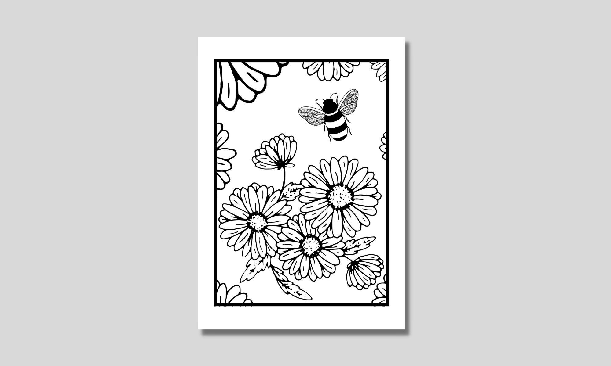 målarbild med bi och blommor