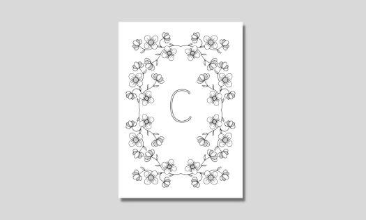 alfabet med ram av blommor bokstaven c