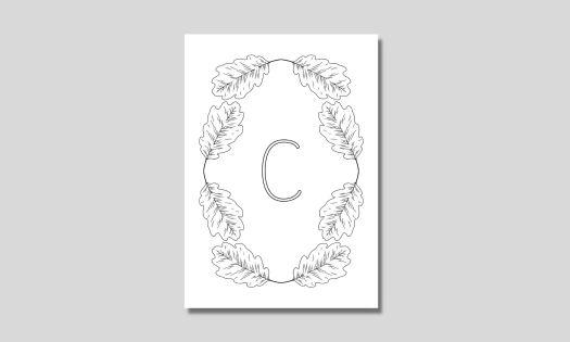 alfabet med eklöv