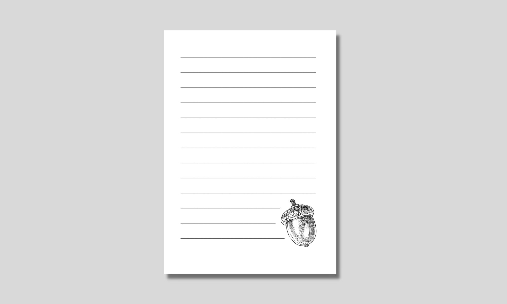 enkelt linjerat papper med ekollon