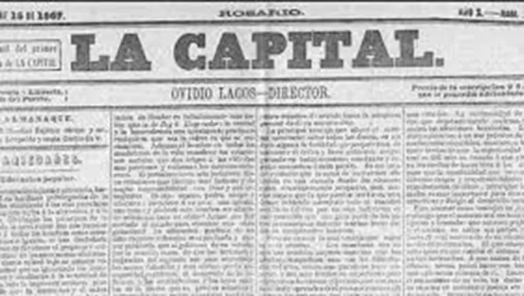 La primera edición del diario La Capital en 1867.