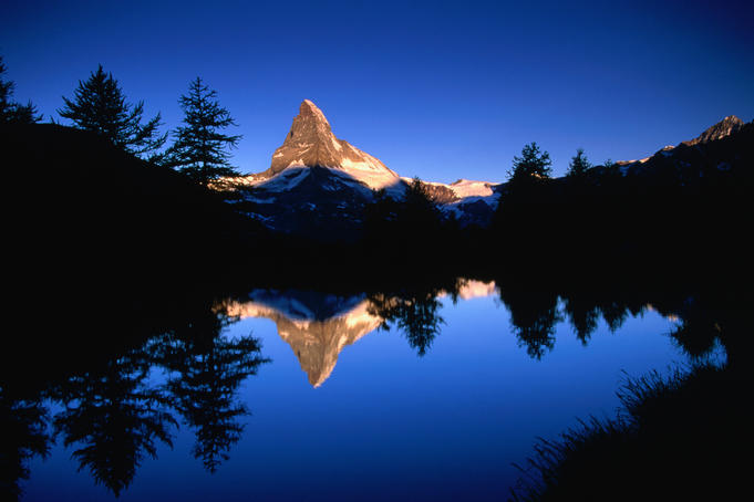 Reflection of the Matterhorn in waters of Grindjisee.