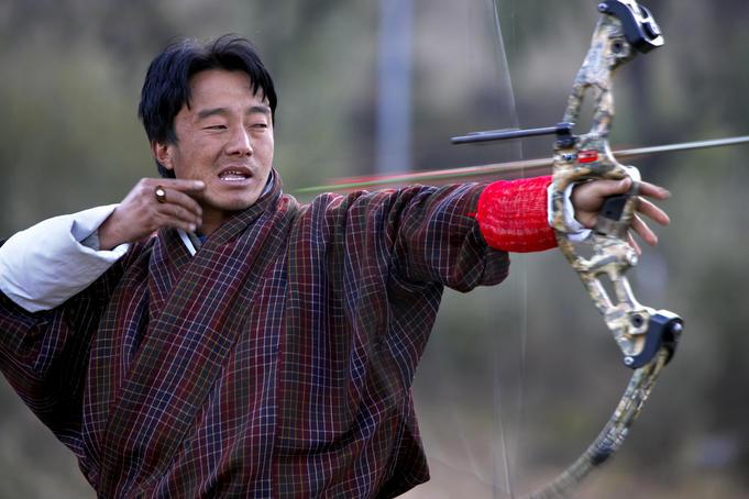 Archer taking aim, Haa Valley.