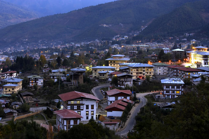 Bhutanese buildings, looking out over Thimphu.