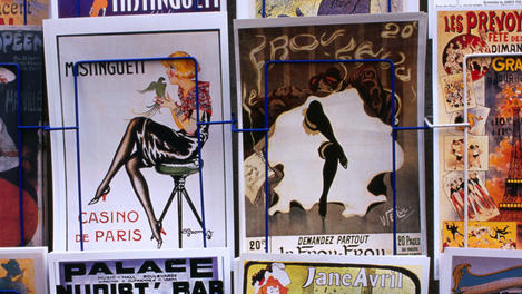 Montmartre, Sacre-Coeur area: there are shops selling postcards and scenes from old Paris