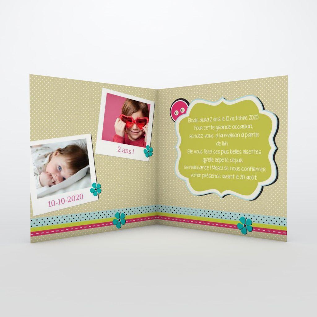 carte invitation anniversaire scrapbooking